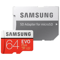 Карта памяти Samsung EVO Plus microSDXC Memory Card 64Gb Class10 UHS-I U3 + SD Adapter